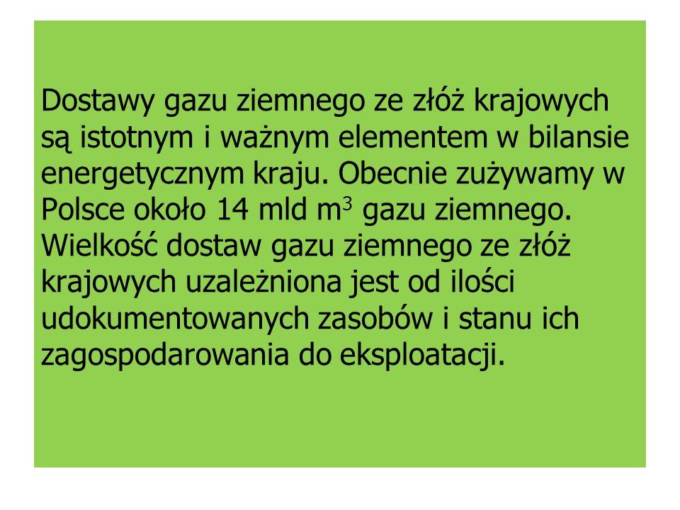 Dostawy gazu ziemnego ze złóż krajowych są istotnym i ważnym elementem w bilansie energetycznym kraju. Obecnie zużywamy w Polsce około 14 mld m 3 gazu