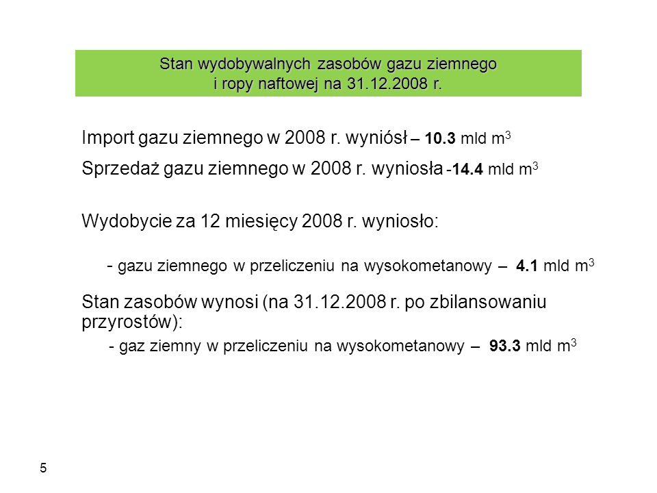 5 - gazu ziemnego w przeliczeniu na wysokometanowy – 4.1 mld m 3 Stan zasobów wynosi (na 31.12.2008 r. po zbilansowaniu przyrostów): - gaz ziemny w pr