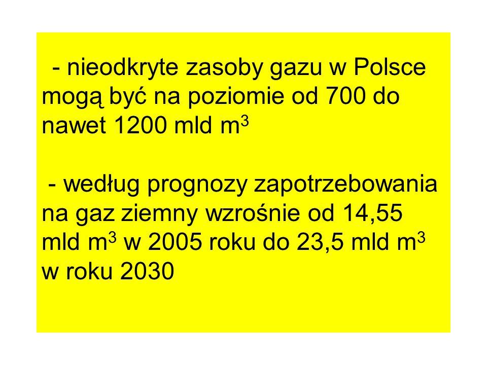 - nieodkryte zasoby gazu w Polsce mogą być na poziomie od 700 do nawet 1200 mld m 3 - według prognozy zapotrzebowania na gaz ziemny wzrośnie od 14,55