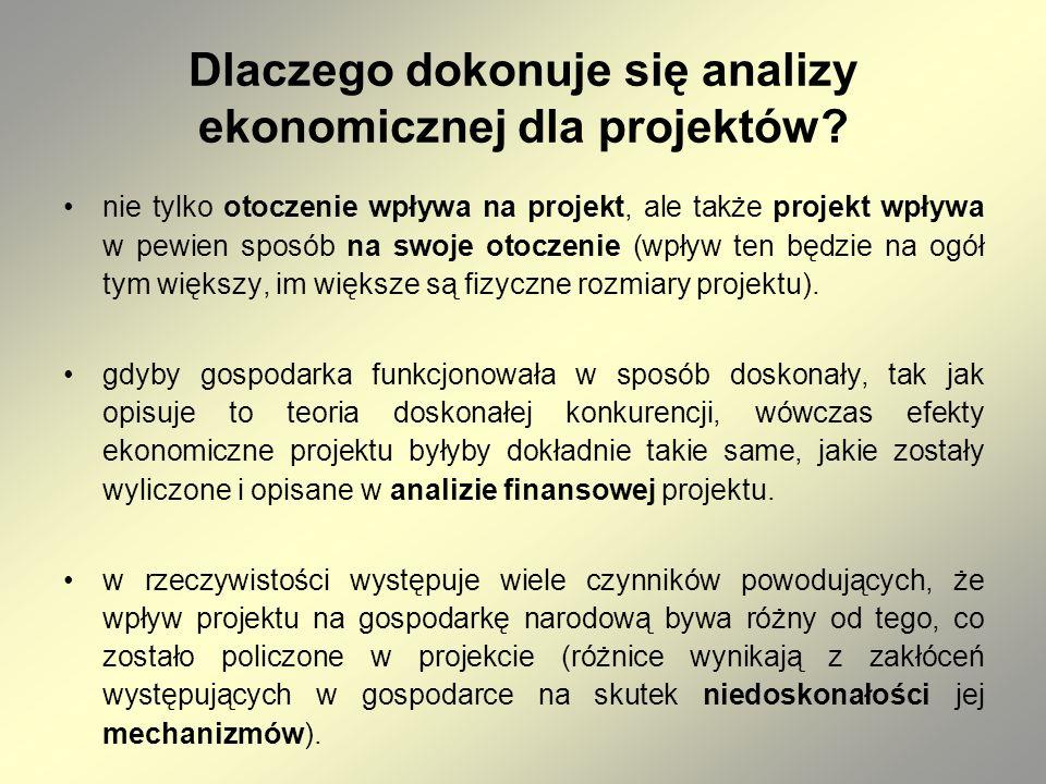 Dlaczego dokonuje się analizy ekonomicznej dla projektów? nie tylko otoczenie wpływa na projekt, ale także projekt wpływa w pewien sposób na swoje oto