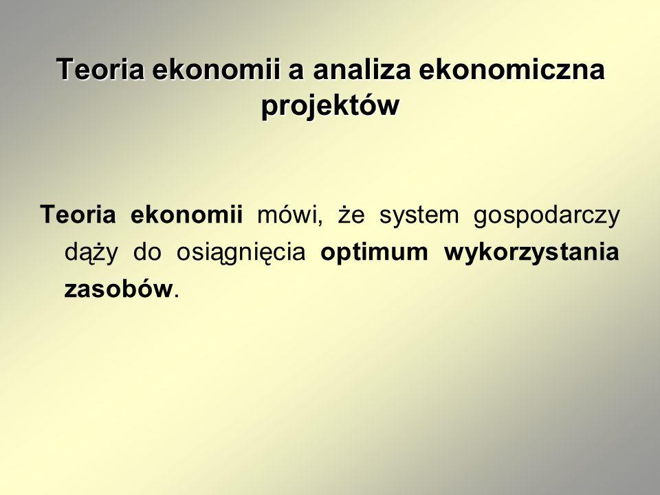 Teoria ekonomii a analiza ekonomiczna projektów Teoria ekonomii mówi, że system gospodarczy dąży do osiągnięcia optimum wykorzystania zasobów.