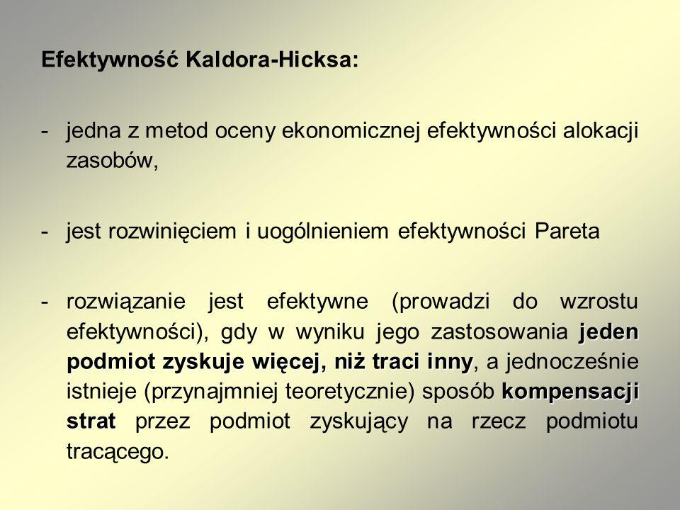 Efektywność Kaldora-Hicksa: -jedna z metod oceny ekonomicznej efektywności alokacji zasobów, -jest rozwinięciem i uogólnieniem efektywności Pareta jed