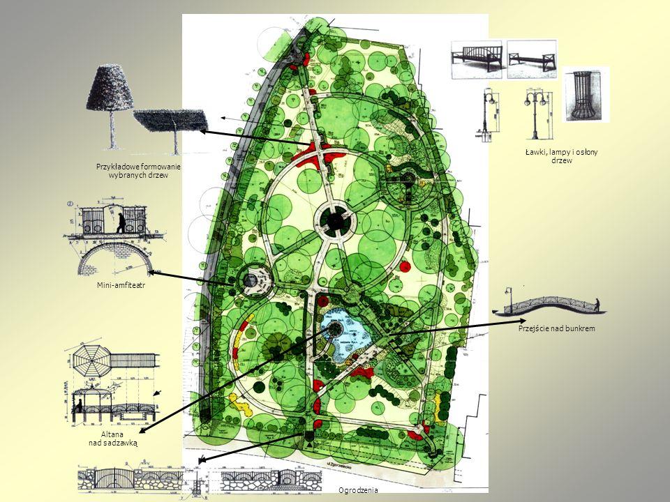 Przykładowe formowanie wybranych drzew Mini-amfiteatr Altana nad sadzawką Przejście nad bunkrem Ławki, lampy i osłony drzew Ogrodzenia