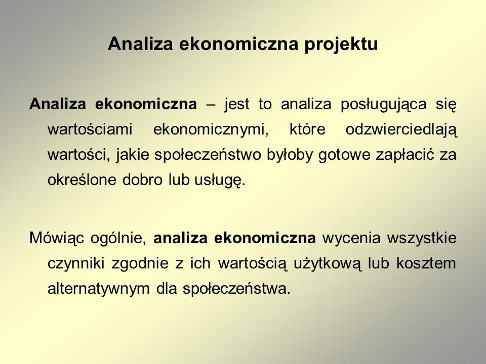 Analiza ekonomiczna projektu Analiza ekonomiczna – jest to analiza posługująca się wartościami ekonomicznymi, które odzwierciedlają wartości, jakie sp
