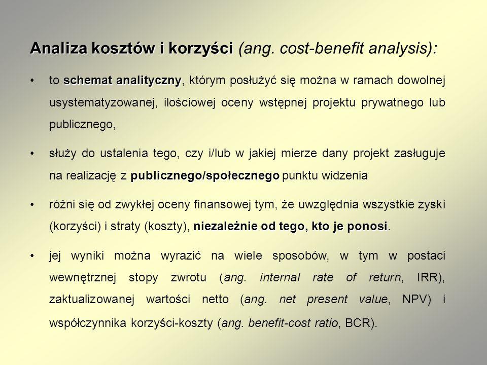 Analiza kosztów i korzyści Analiza kosztów i korzyści (ang. cost-benefit analysis): schemat analitycznyto schemat analityczny, którym posłużyć się moż