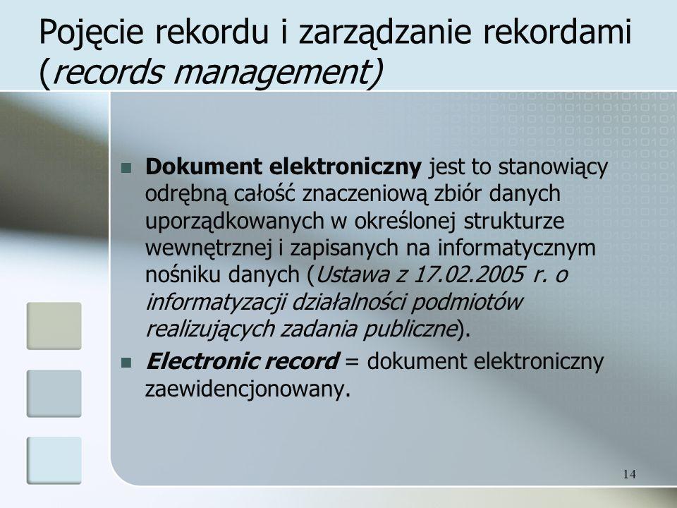 Pojęcie rekordu i zarządzanie rekordami (records management) Dokument elektroniczny jest to stanowiący odrębną całość znaczeniową zbiór danych uporządkowanych w określonej strukturze wewnętrznej i zapisanych na informatycznym nośniku danych (Ustawa z 17.02.2005 r.