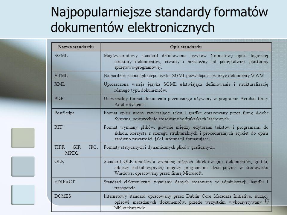 17 Najpopularniejsze standardy formatów dokumentów elektronicznych Nazwa standarduOpis standardu SGMLMiędzynarodowy standard definiowania języków (formatów) opisu logicznej struktury dokumentów, otwarty i niezależny od jakiejkolwiek platformy sprzętowo-programowej.