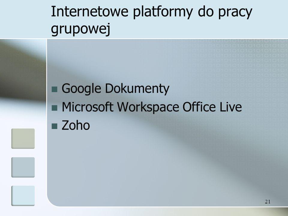 Internetowe platformy do pracy grupowej Google Dokumenty Microsoft Workspace Office Live Zoho 21