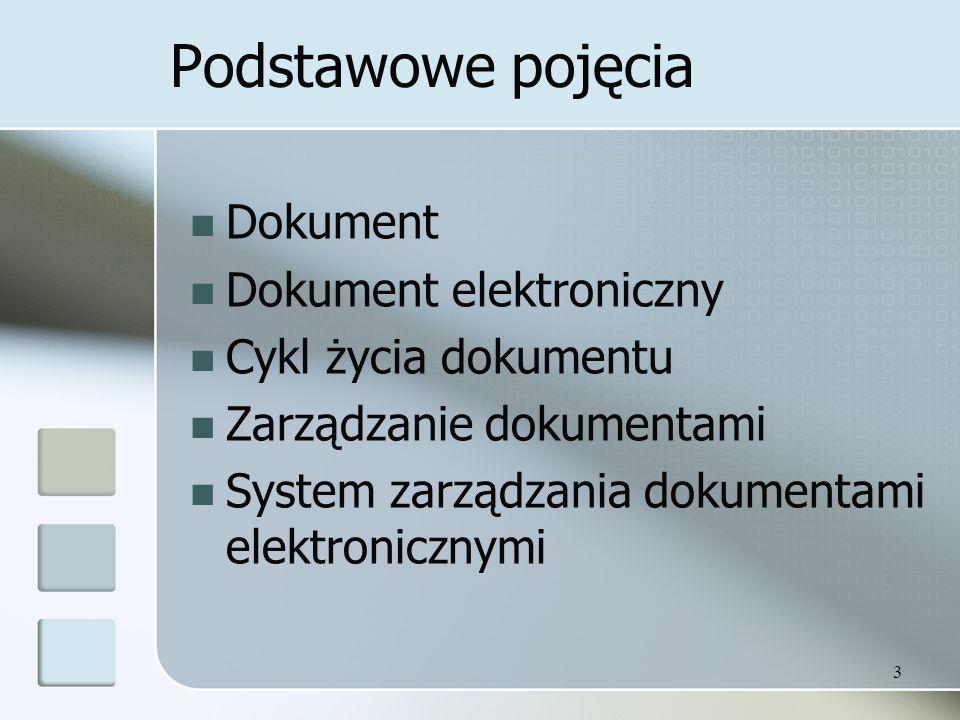 3 Podstawowe pojęcia Dokument Dokument elektroniczny Cykl życia dokumentu Zarządzanie dokumentami System zarządzania dokumentami elektronicznymi