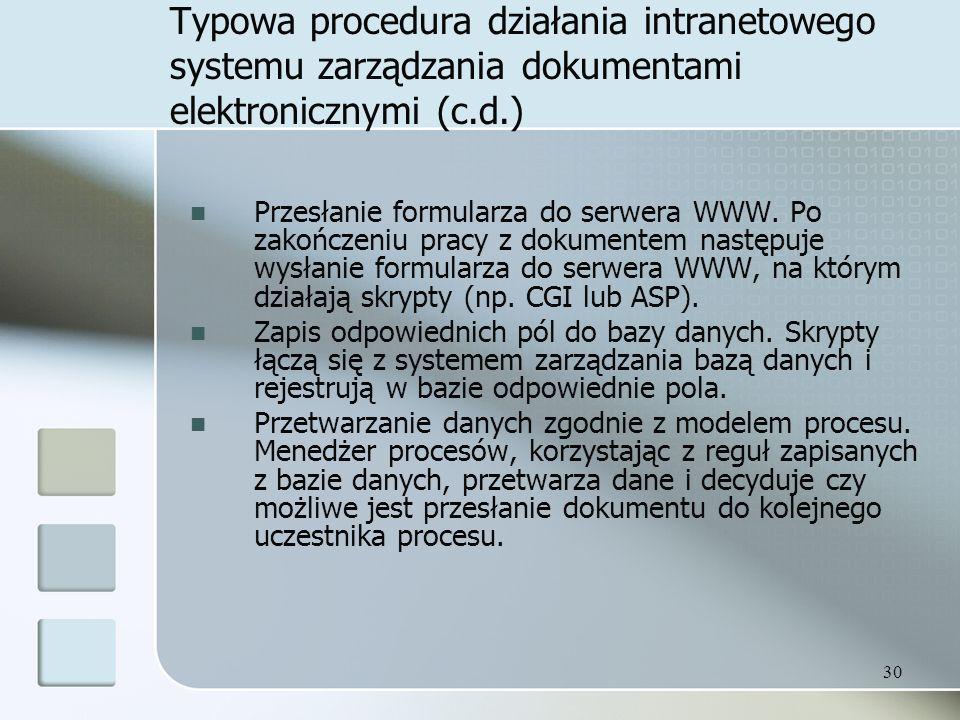 30 Typowa procedura działania intranetowego systemu zarządzania dokumentami elektronicznymi (c.d.) Przesłanie formularza do serwera WWW.