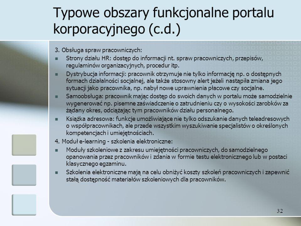 32 Typowe obszary funkcjonalne portalu korporacyjnego (c.d.) 3.