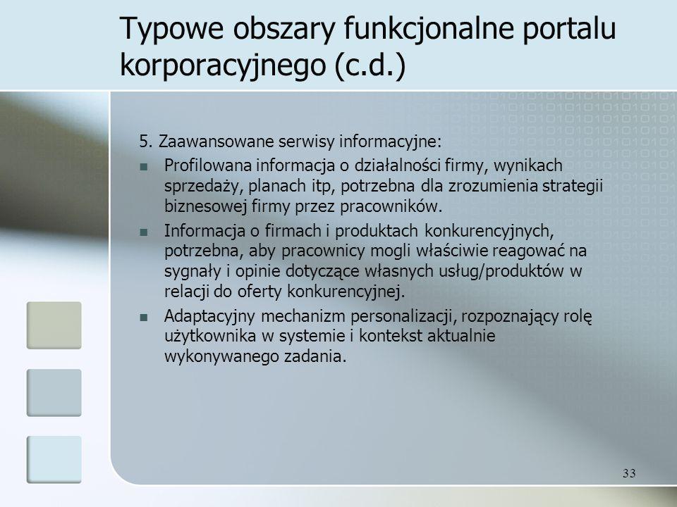 33 Typowe obszary funkcjonalne portalu korporacyjnego (c.d.) 5.
