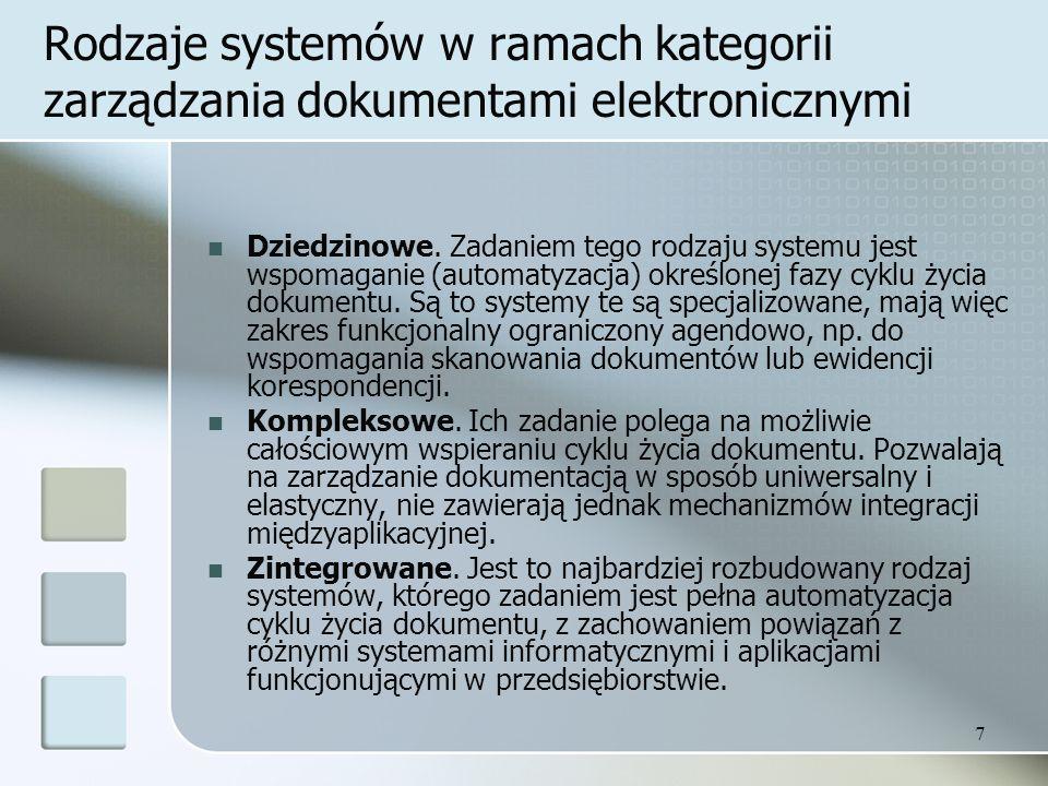 7 Rodzaje systemów w ramach kategorii zarządzania dokumentami elektronicznymi Dziedzinowe.