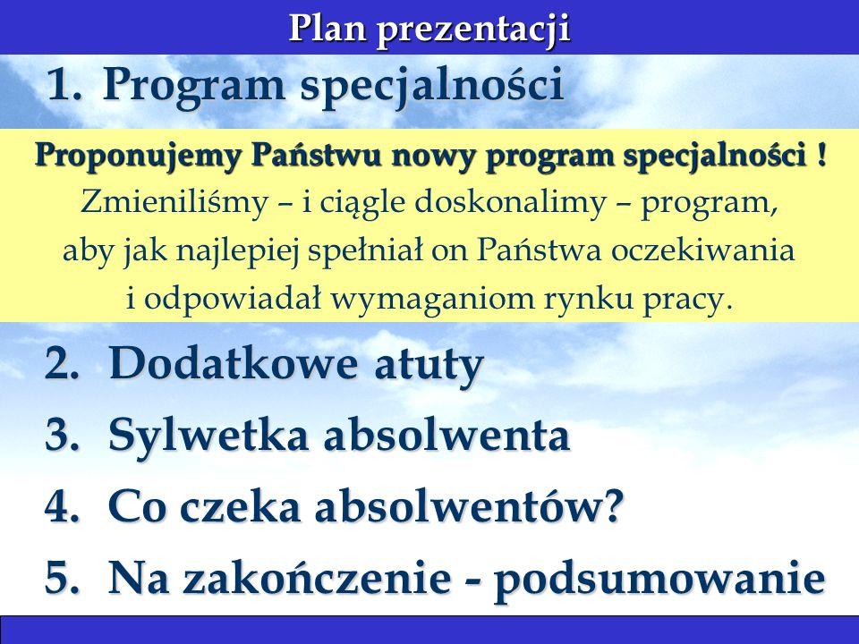 Plan prezentacji 1. Program specjalności 4.Co czeka absolwentów.