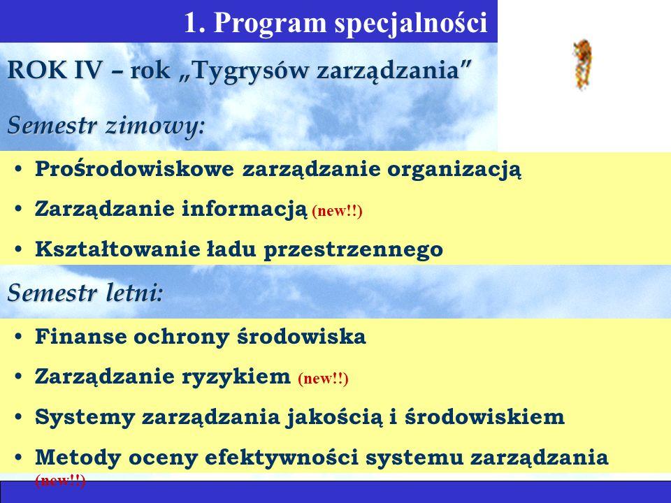 1. Program specjalności Pro ś rodowiskowe zarządzanie organizacją Zarządzanie informacją (new!!) Kształtowanie ładu przestrzennego ROK IV – rok Tygrys