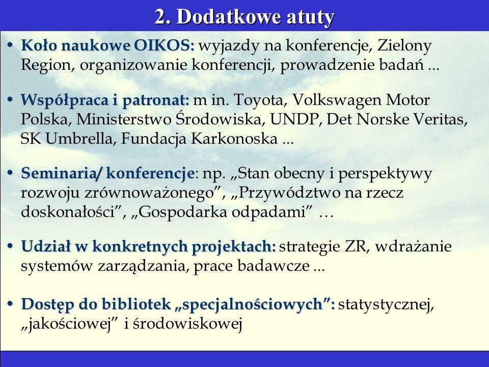 2. Dodatkowe atuty Seminaria/ konferencje Seminaria/ konferencje : np.