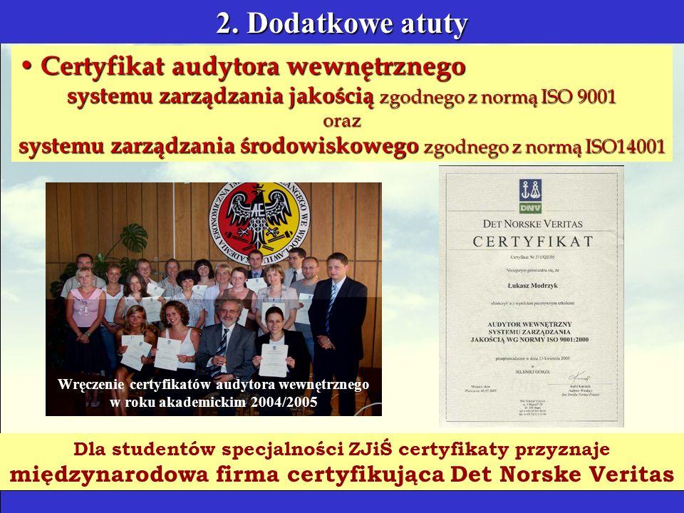 2. Dodatkowe atuty Certyfikat audytora wewnętrznego Certyfikat audytora wewnętrznego systemu zarządzania jakością zgodnego z normą ISO 9001 oraz syste