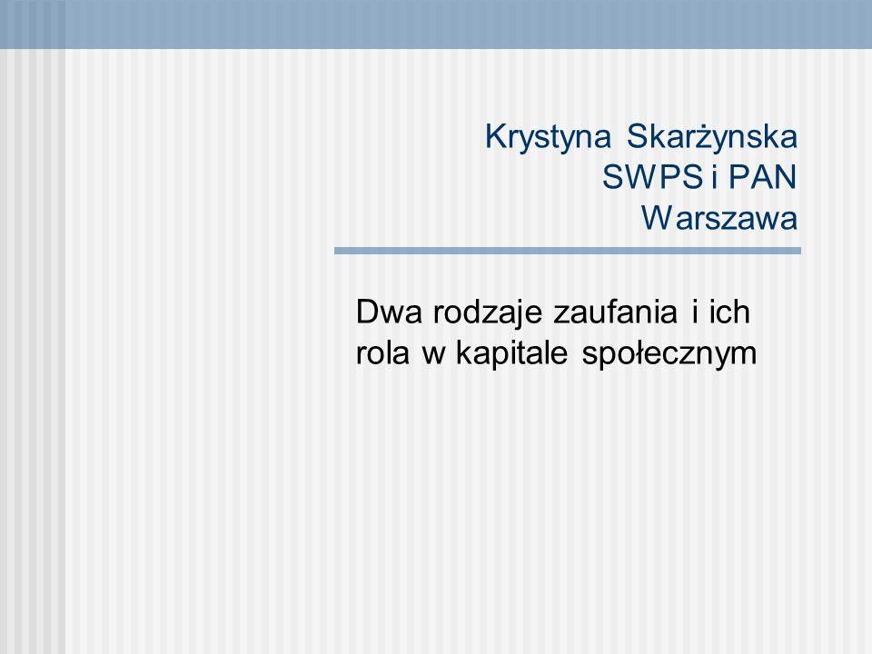 Punkty wyjścia Zaufanie, czyli zgeneralizowane oczekiwanie raczej pozytywnych, niż negatywnych ludzkich motywów i intencji - jako niezwykle istotny element kapitału ludzkiego i społecznego (jednostek i społeczności) - czyli zmienna warta uwagi; Niski poziom zaufania do ludzi, charakteryzujący niezmiennie polskie społeczeństwo a jednocześnie wysoka wartość bliskich relacji w rodzinie, z przyjaciółmi (to, co Schwartz (2001) określa jako benevolence, a Boski (19995, 1999 - humanizmem).