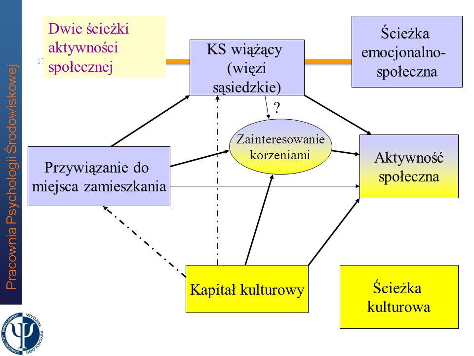 Pracownia Psychologii Środowiskowej 16 Dwa kapitały a aktywność społeczna (model testowany w badaniach) Dwuścieżkowy model aktywności Ścieżka emocjona