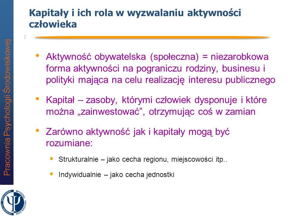 Pracownia Psychologii Środowiskowej 53 Badanie V Kapitał społeczny a aktywność społeczna (D.
