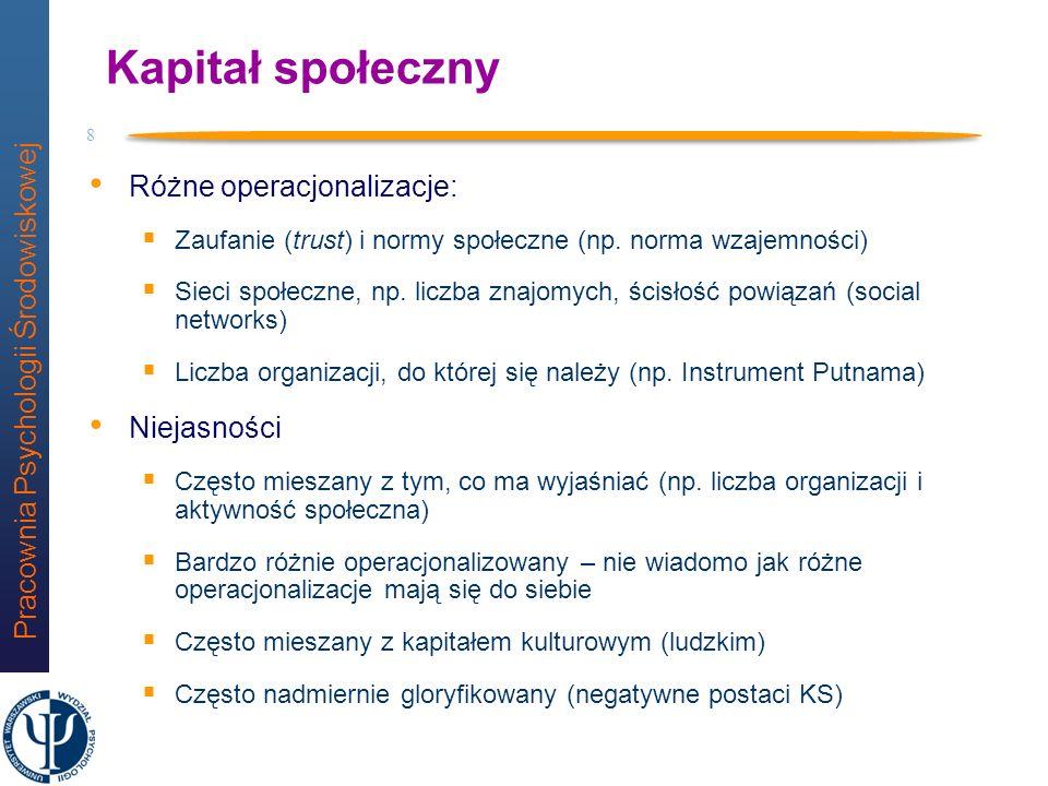 Pracownia Psychologii Środowiskowej 7 Trzy rodzaje kapitałów (wg. P. Bourdieu) Kapitał materialny zasoby materialne Kapitał społeczny sieć relacji spo