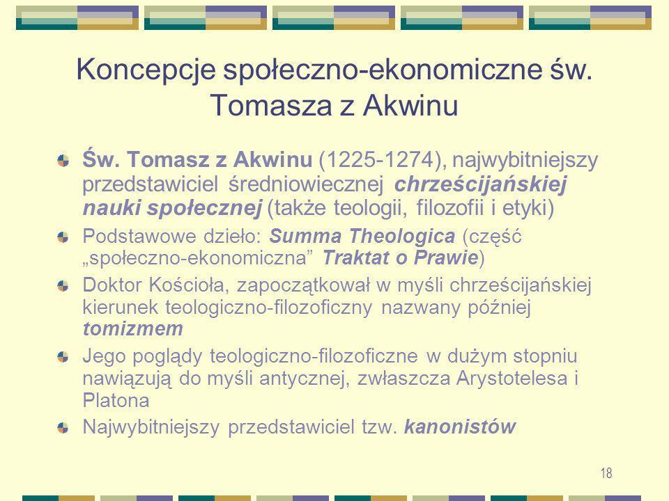 19 Koncepcje społeczno-ekonomiczne św.