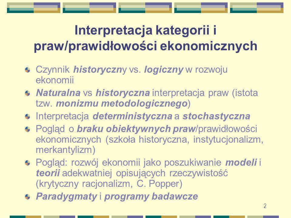 3 Interpretacja wartości/cen dóbr i związane z tym teorie podziału i zrostu Klasyczna/obiektywna teoria wartości (TW) Teoria produkcyjności krańcowej czynników wytwórczych jako TW Psychologiczna/subiektywna TW Pragmatyczna teoria wartości Anty-teoria wartości
