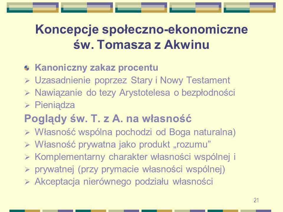 22 Koncepcje społeczno-ekonomiczne św.Tomasza z Akwinu Poglądy św.