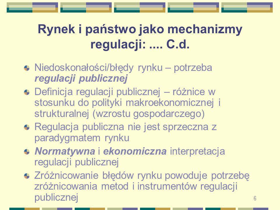 7 Rynek i państwo jako mechanizmy regulacji:....C.d.