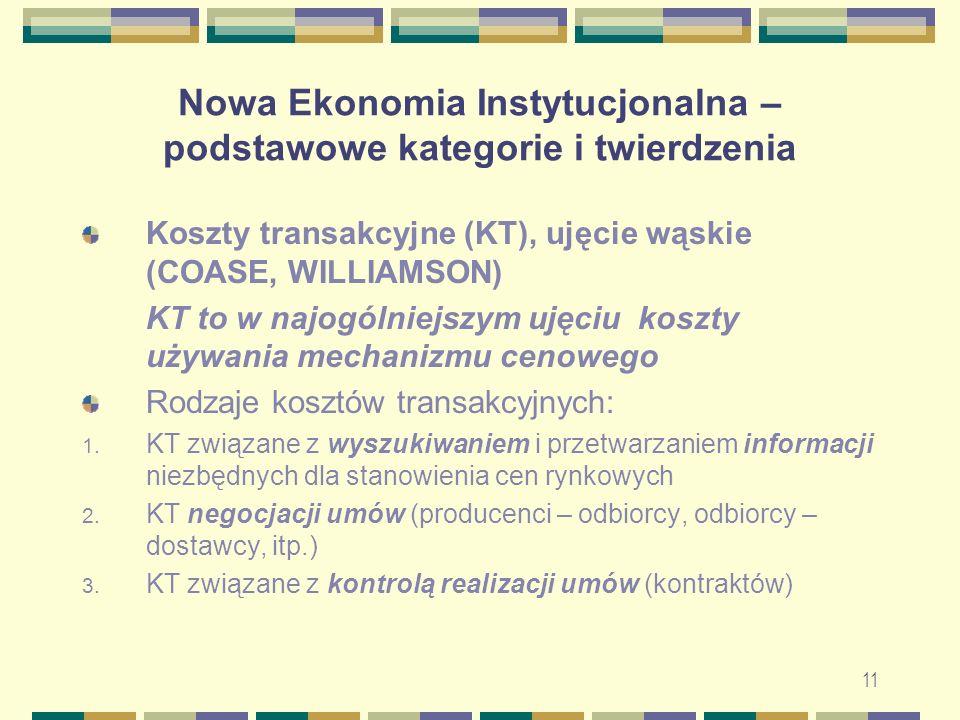 12 Nowa Ekonomia Instytucjonalna – podstawowe kategorie i twierdzenia Szerokie ujęcie KT: 1.