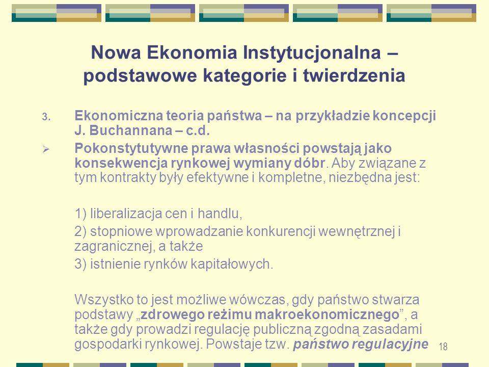 19 Nowa Ekonomia Instytucjonalna – podstawowe kategorie i twierdzenia 3.