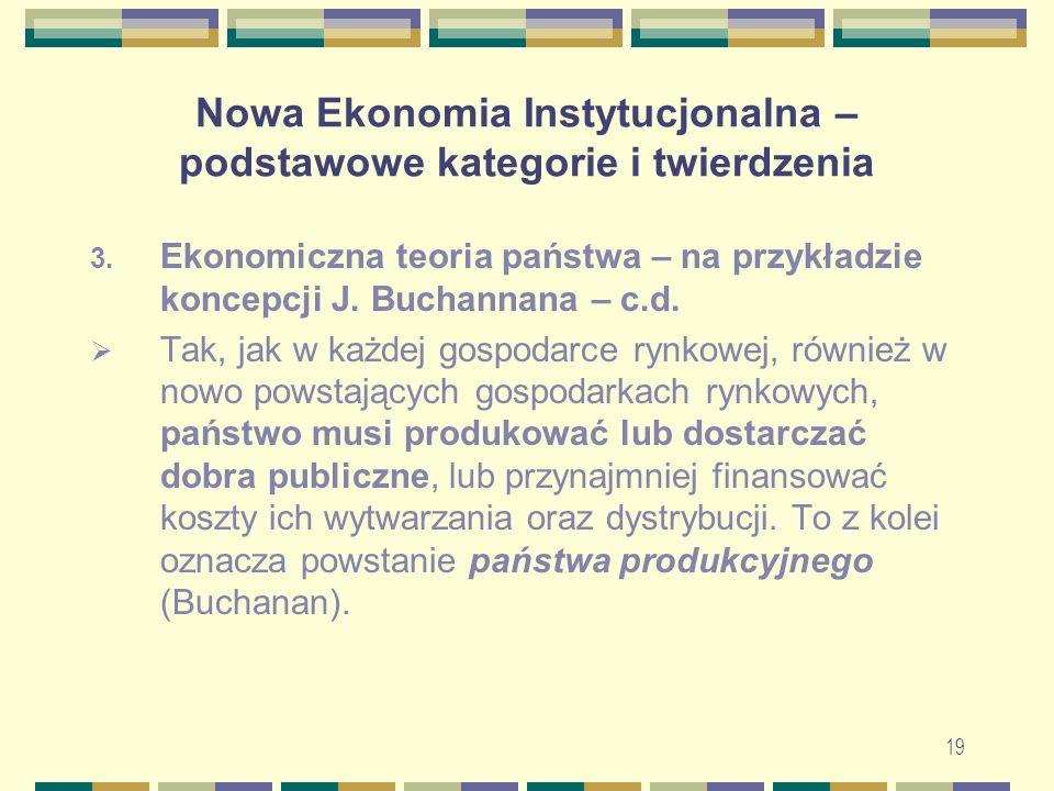 20 Nowa Ekonomia Instytucjonalna – podstawowe kategorie i twierdzenia 5.