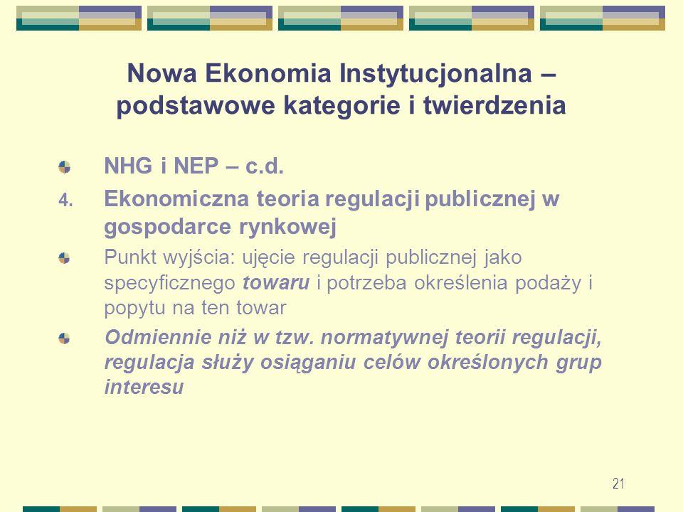 22 Nowa Ekonomia Instytucjonalna – podstawowe kategorie i twierdzenia 4.