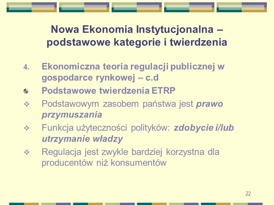 23 Nowa Ekonomia Instytucjonalna – podstawowe kategorie i twierdzenia Podstawowe twierdzenia ETRP – c.d.