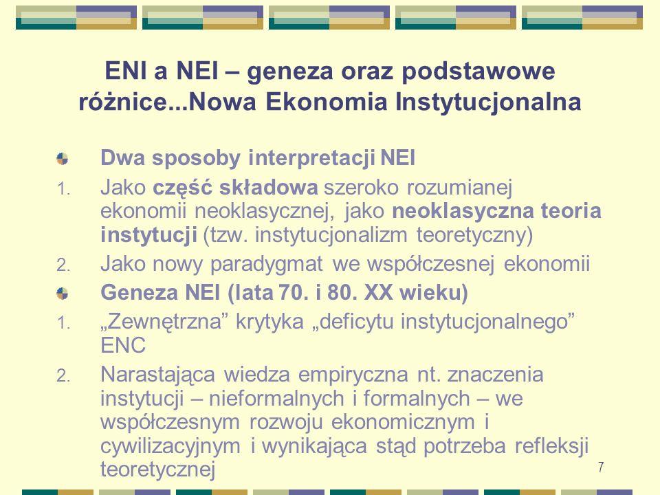 8 ENI a NEI – geneza oraz podstawowe różnice...Nowa Ekonomia Instytucjonalna Powstanie i rozwój: 1.