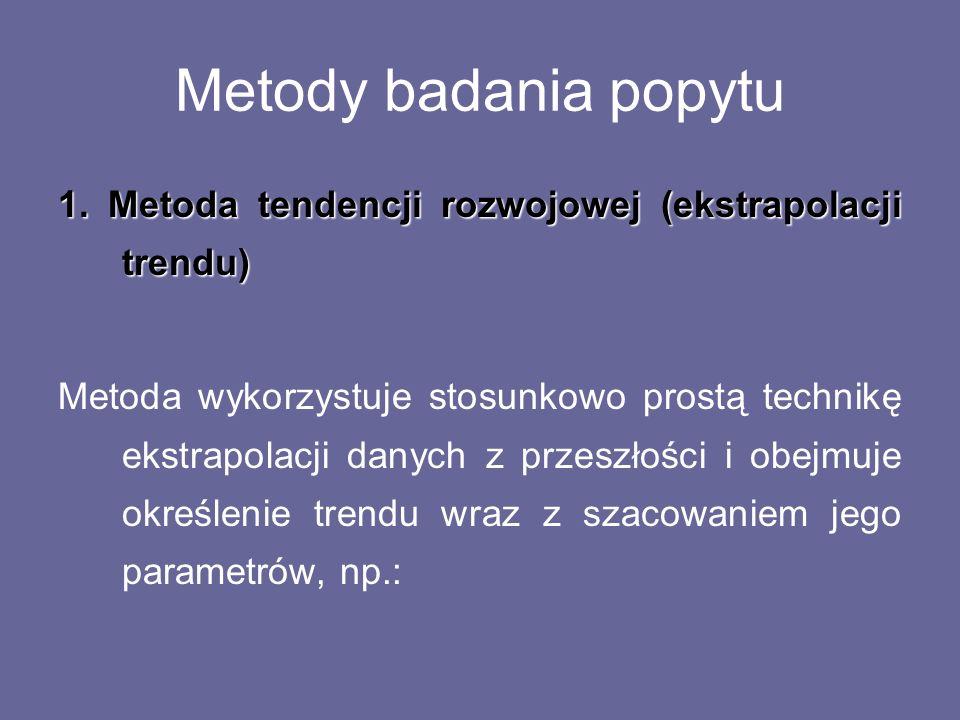 Metody badania popytu 1. Metoda tendencji rozwojowej (ekstrapolacji trendu) Metoda wykorzystuje stosunkowo prostą technikę ekstrapolacji danych z prze