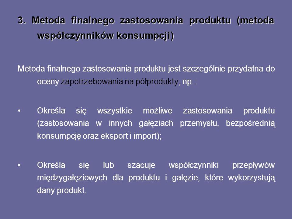 3. Metoda finalnego zastosowania produktu (metoda współczynników konsumpcji) Metoda finalnego zastosowania produktu jest szczególnie przydatna do ocen