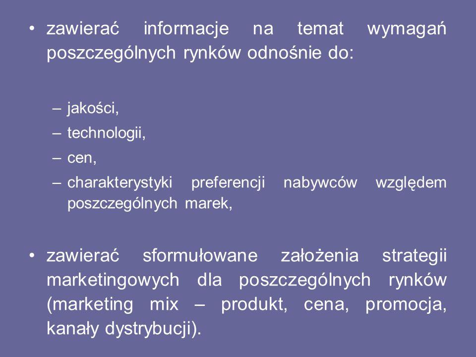 zawierać informacje na temat wymagań poszczególnych rynków odnośnie do: –jakości, –technologii, –cen, –charakterystyki preferencji nabywców względem p