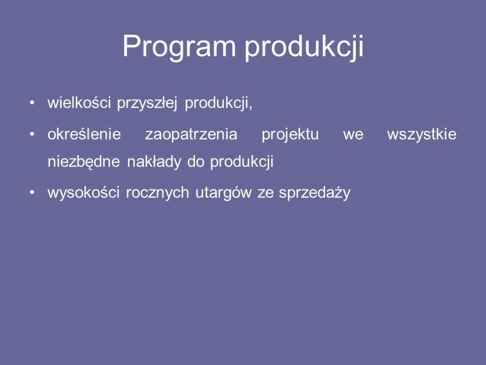 Program produkcji wielkości przyszłej produkcji, określenie zaopatrzenia projektu we wszystkie niezbędne nakłady do produkcji wysokości rocznych utarg