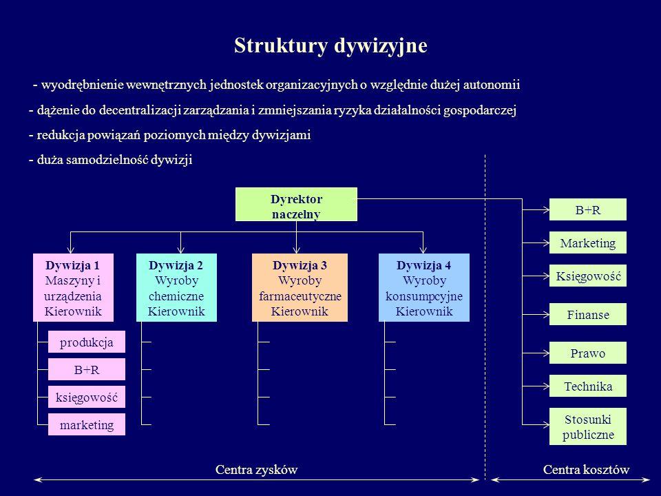 - wyodrębnienie wewnętrznych jednostek organizacyjnych o względnie dużej autonomii - dążenie do decentralizacji zarządzania i zmniejszania ryzyka dzia
