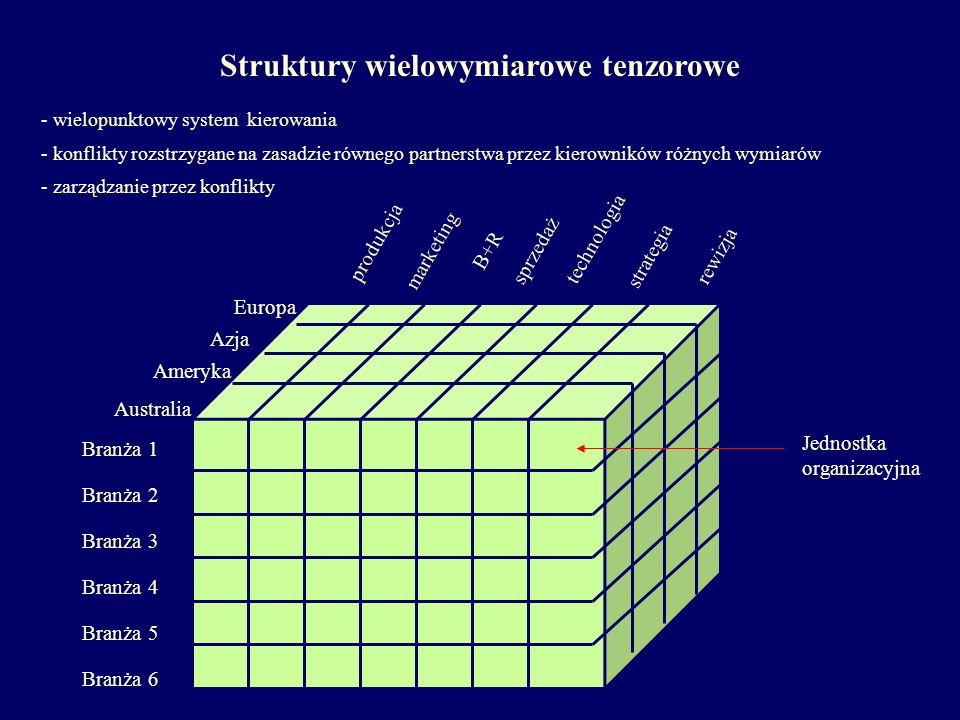 Struktury wielowymiarowe tenzorowe - wielopunktowy system kierowania - konflikty rozstrzygane na zasadzie równego partnerstwa przez kierowników różnyc