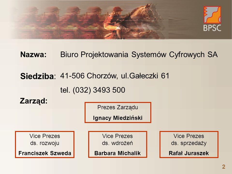 2 Biuro Projektowania Systemów Cyfrowych SA Nazwa: Siedziba: 41-506 Chorzów, ul.Gałeczki 61 tel. (032) 3493 500 Zarząd: Prezes Zarządu Ignacy Miedzińs