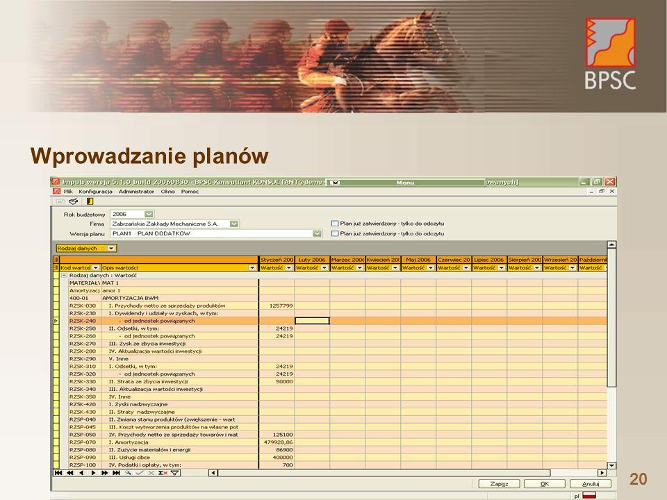 20 Wprowadzanie planów