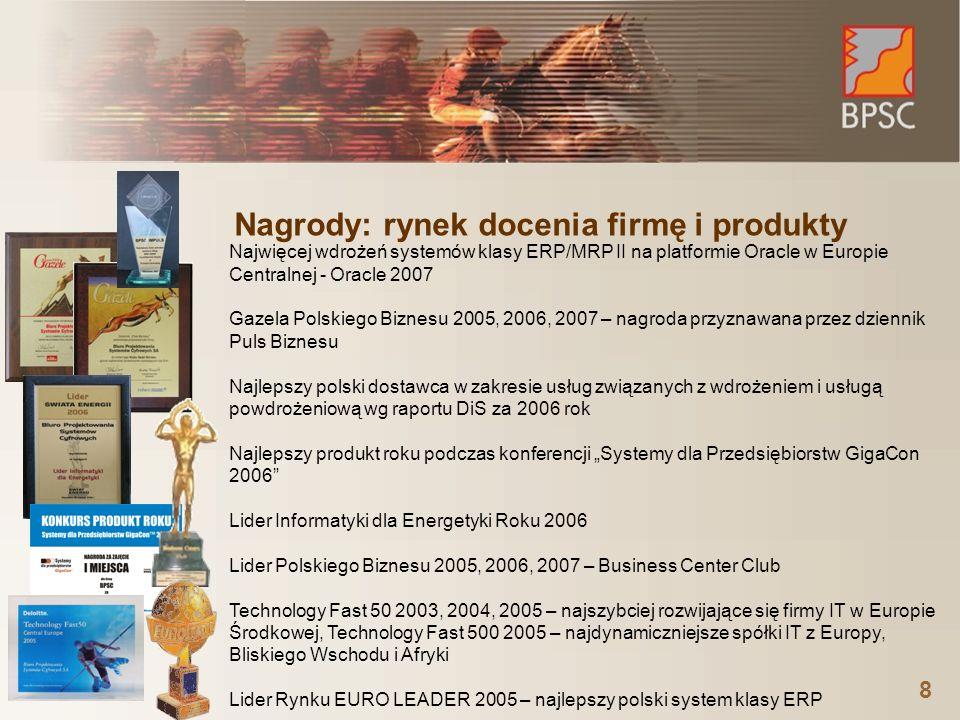 8 Nagrody: rynek docenia firmę i produkty Najwięcej wdrożeń systemów klasy ERP/MRP II na platformie Oracle w Europie Centralnej - Oracle 2007 Gazela P
