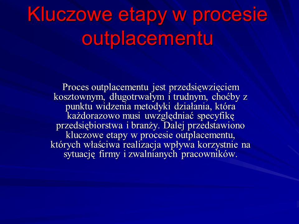 Kluczowe etapy w procesie outplacementu Proces outplacementu jest przedsięwzięciem kosztownym, długotrwałym i trudnym, choćby z punktu widzenia metody