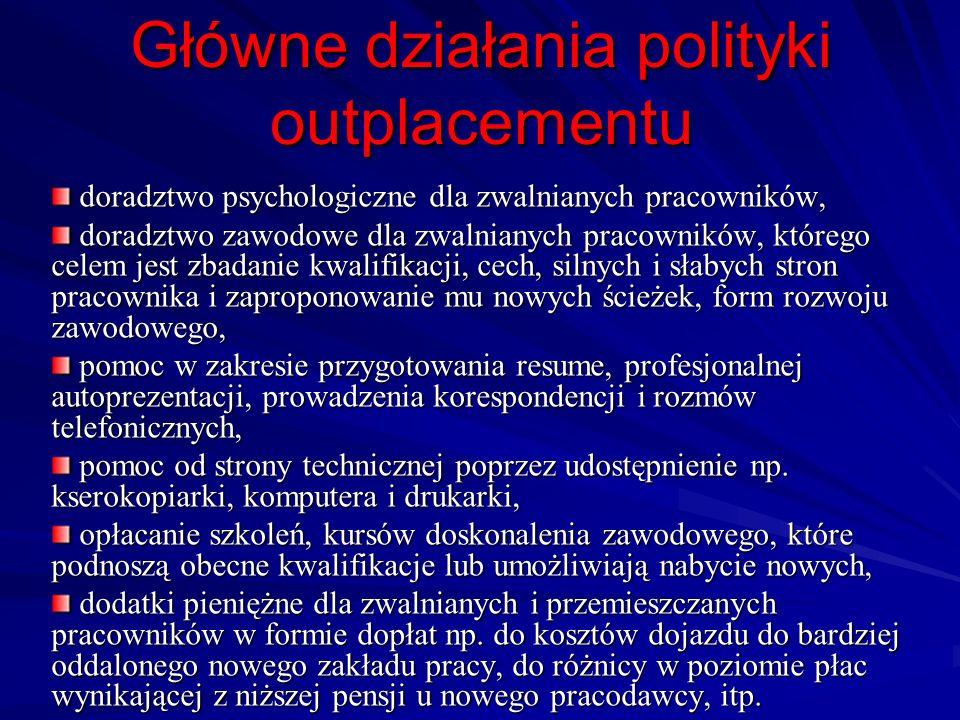 Główne działania polityki outplacementu doradztwo psychologiczne dla zwalnianych pracowników, doradztwo psychologiczne dla zwalnianych pracowników, do