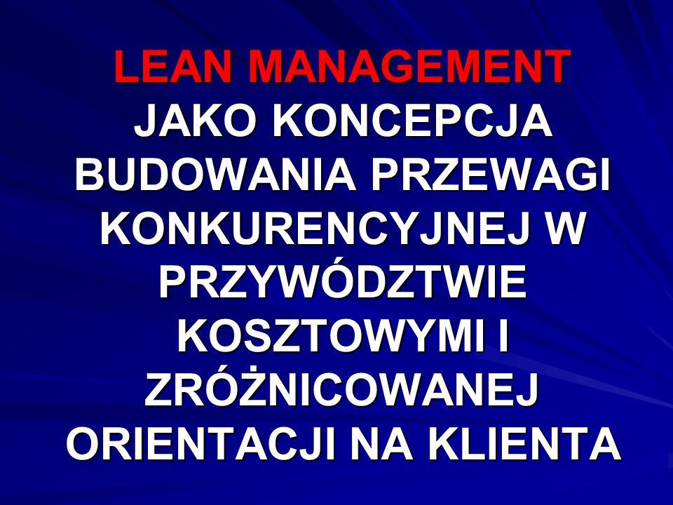 Historia Koncepcja lean management (LM) powstała w latach osiemdziesiątych ubiegłego stulecia w Japonii, a jej twórcą był John Krafcik, naukowiec z Massachusetts Institute of Technology (MIT), kolebki większości najbardziej znanych w świecie koncepcji zarządzania.