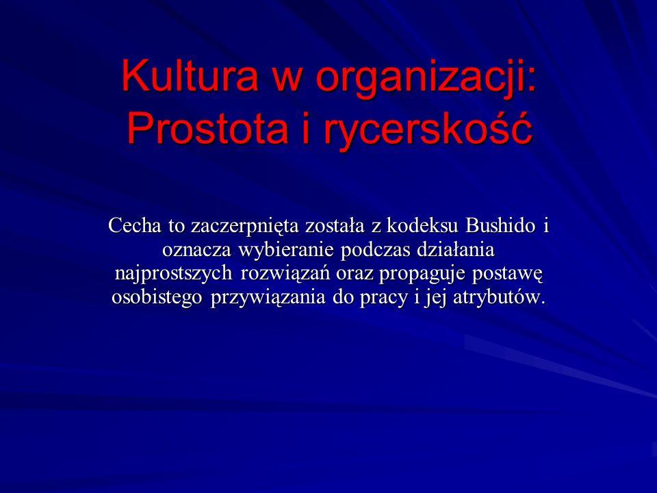 Kultura w organizacji: Prostota i rycerskość Cecha to zaczerpnięta została z kodeksu Bushido i oznacza wybieranie podczas działania najprostszych rozw