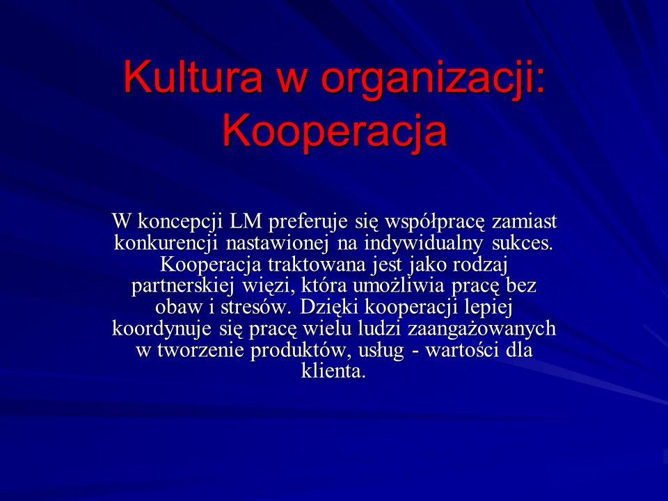Kultura w organizacji: Kooperacja W koncepcji LM preferuje się współpracę zamiast konkurencji nastawionej na indywidualny sukces. Kooperacja traktowan