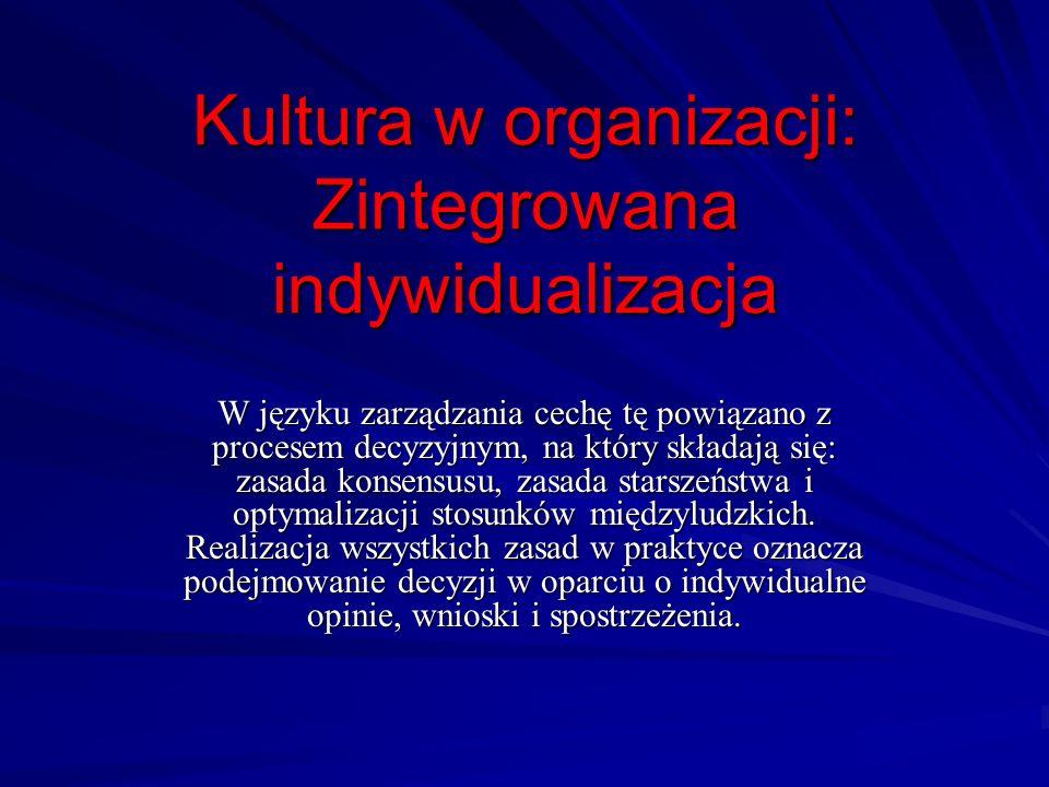 Kultura w organizacji: Zintegrowana indywidualizacja W języku zarządzania cechę tę powiązano z procesem decyzyjnym, na który składają się: zasada kons